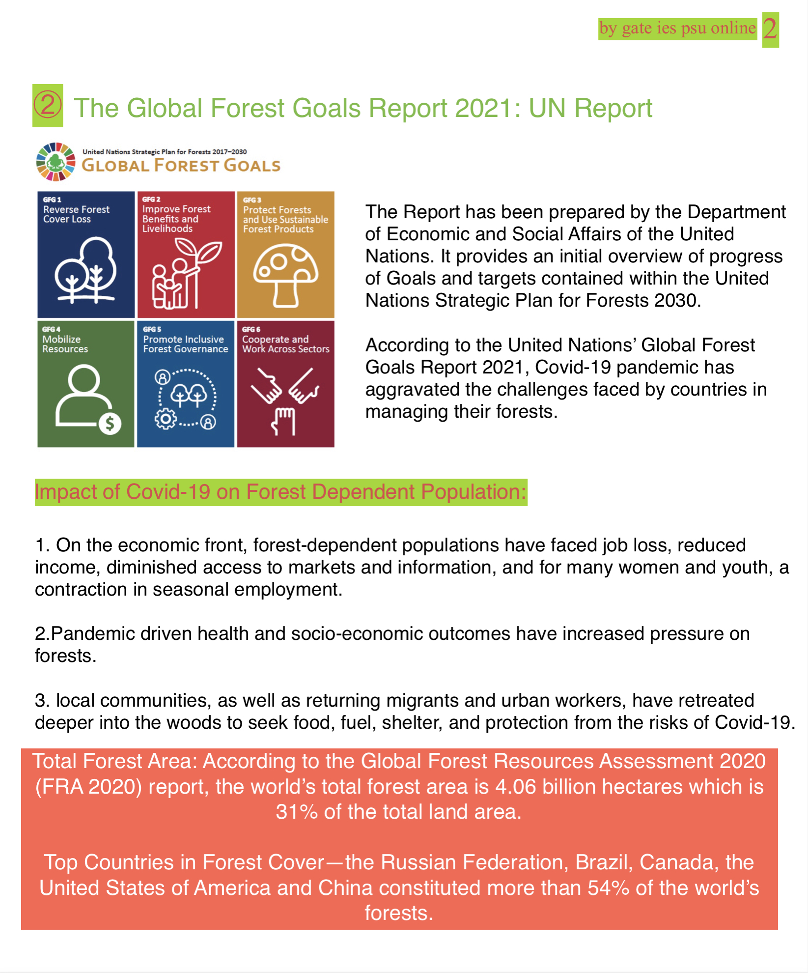 the global forest goal 2021 upsc current affairs april 2021
