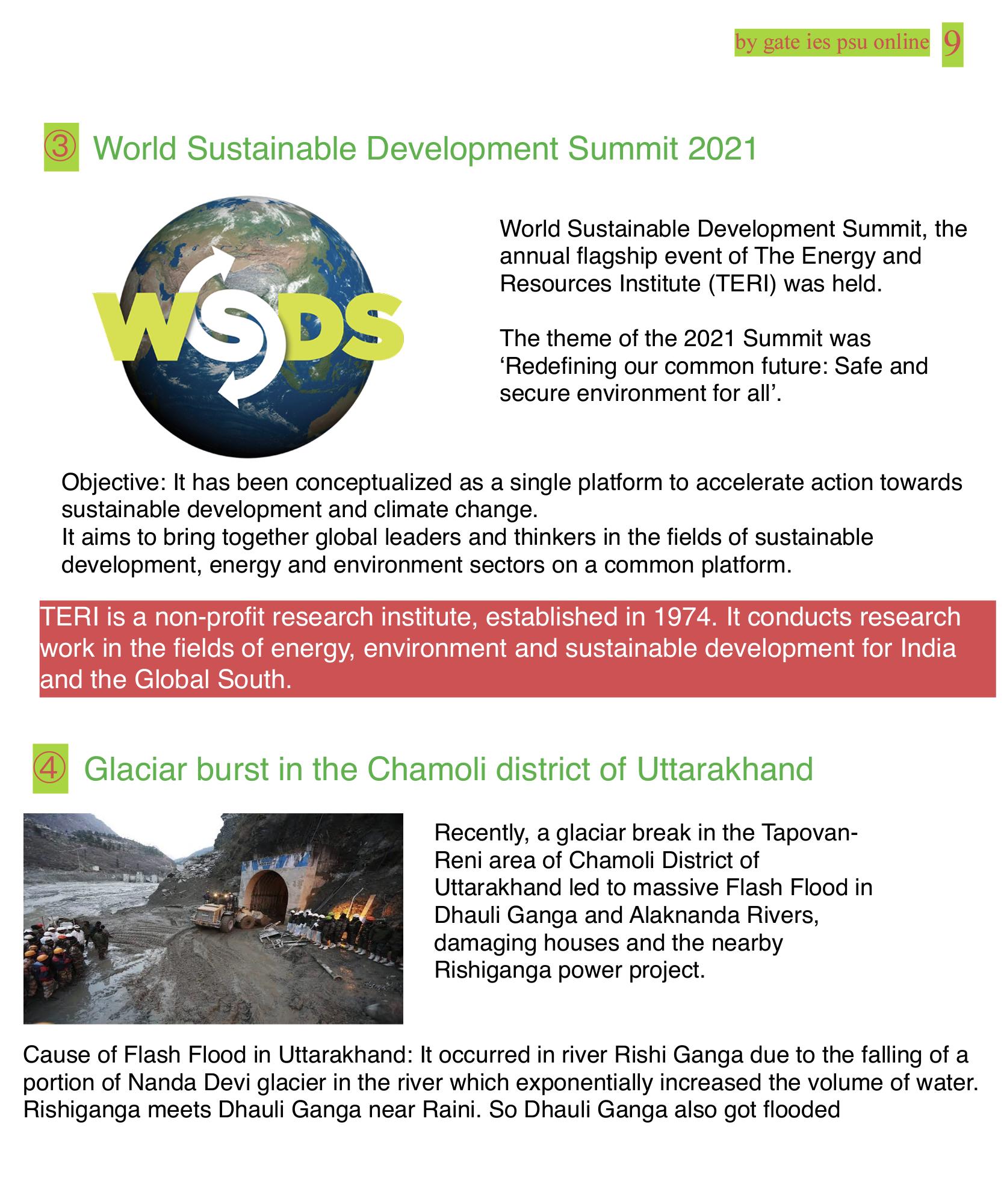 World sustainable submit 2021, TERI, CHAMOLI GLACIER BRUST, UPSC CURRENT AFFAIRS