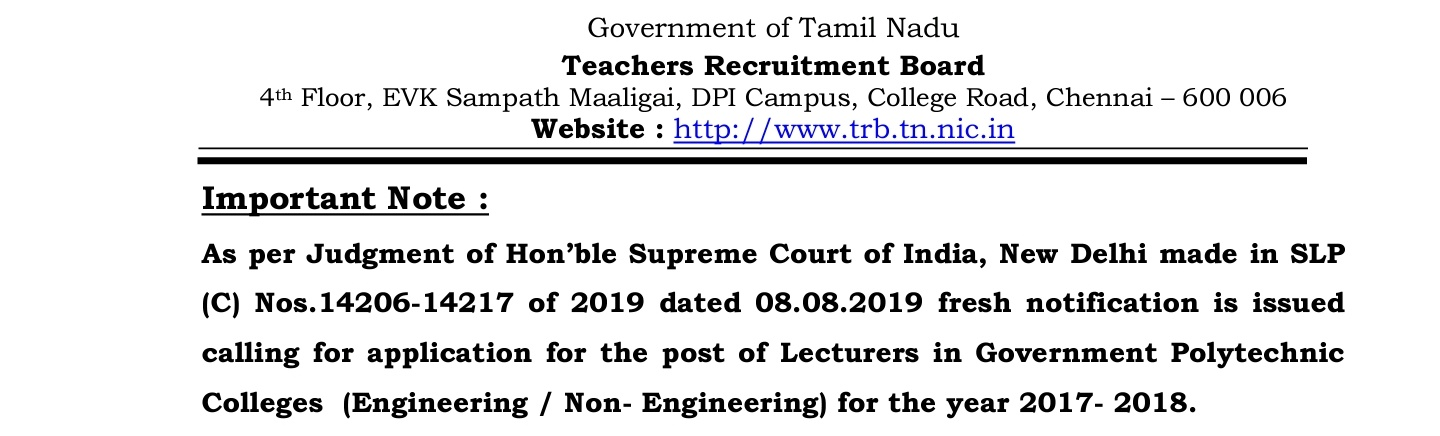 TNES RECRUITMENT 2019 FOR LECTURES IN GOVT Polytechnic COLLEGES