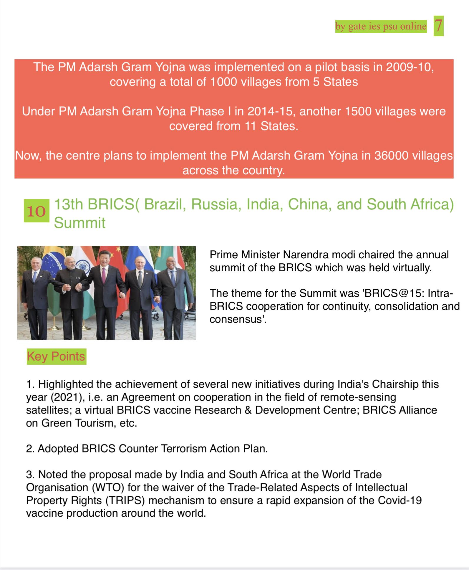 13 BRICS Submit UPSC IES IRMS Current Affairs