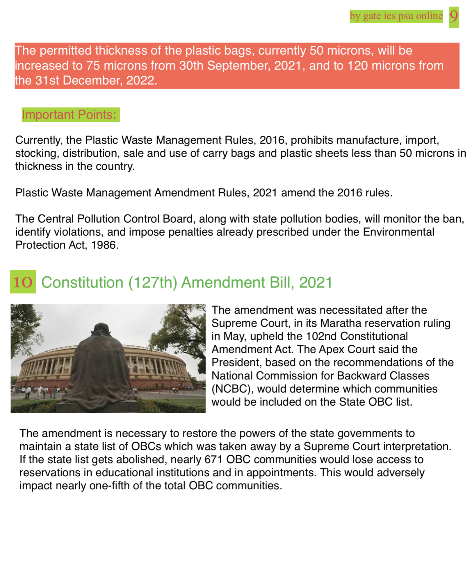 127 amendment bill obc current affairs