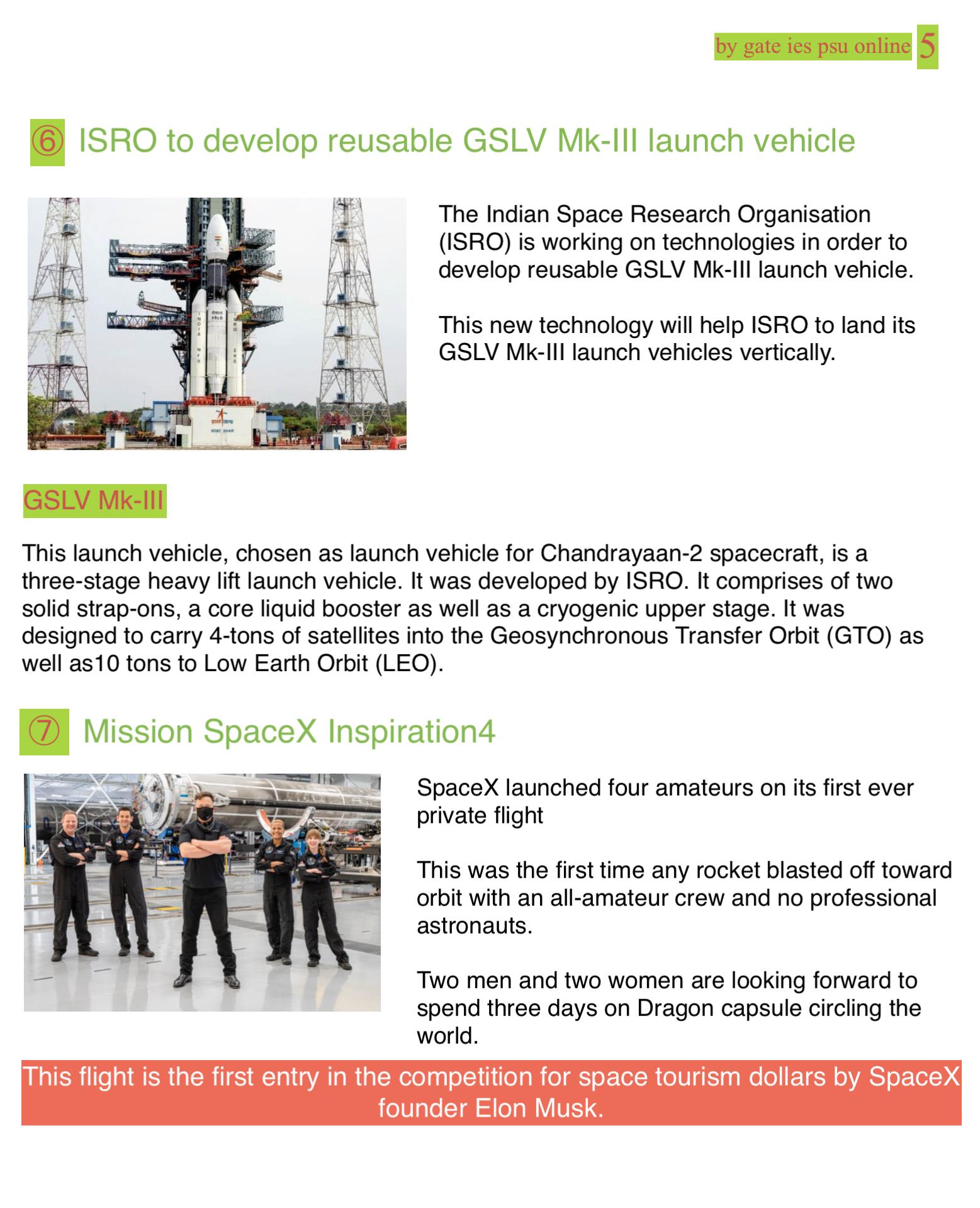 ISRO GSLV MK 3 reusable launch vehicle UPSC IES CURRENT AFFAIRS