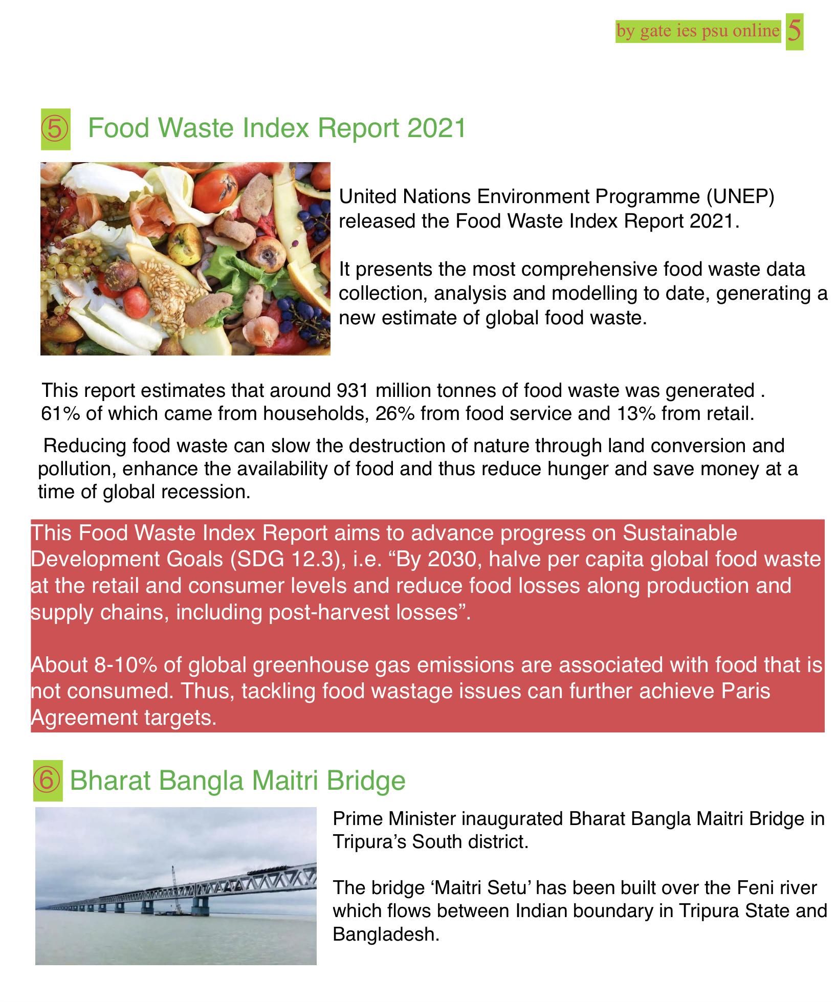 food waste index report 2021 UNEP