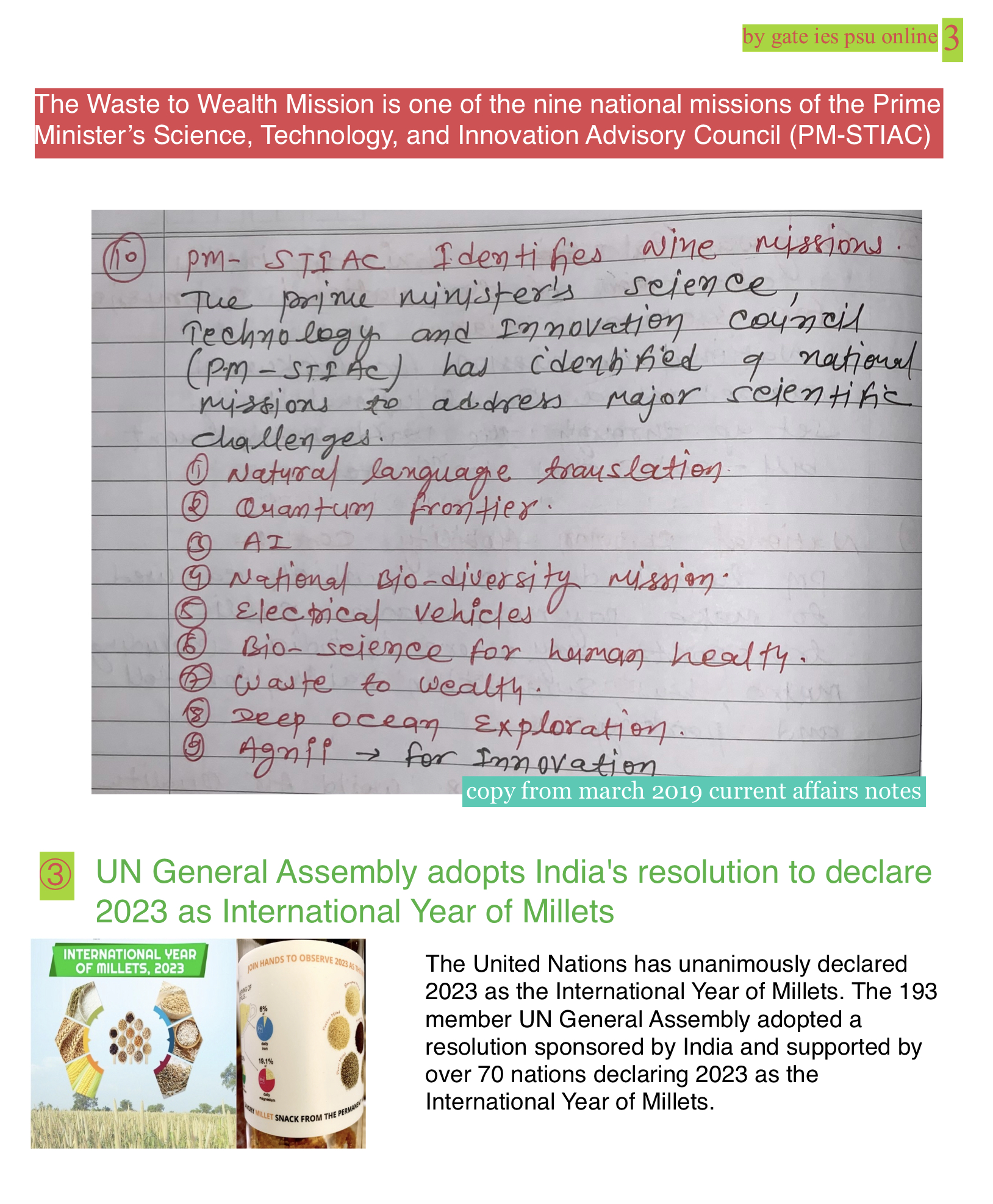 UNGA 2023 international year's of millets upsc current affairs
