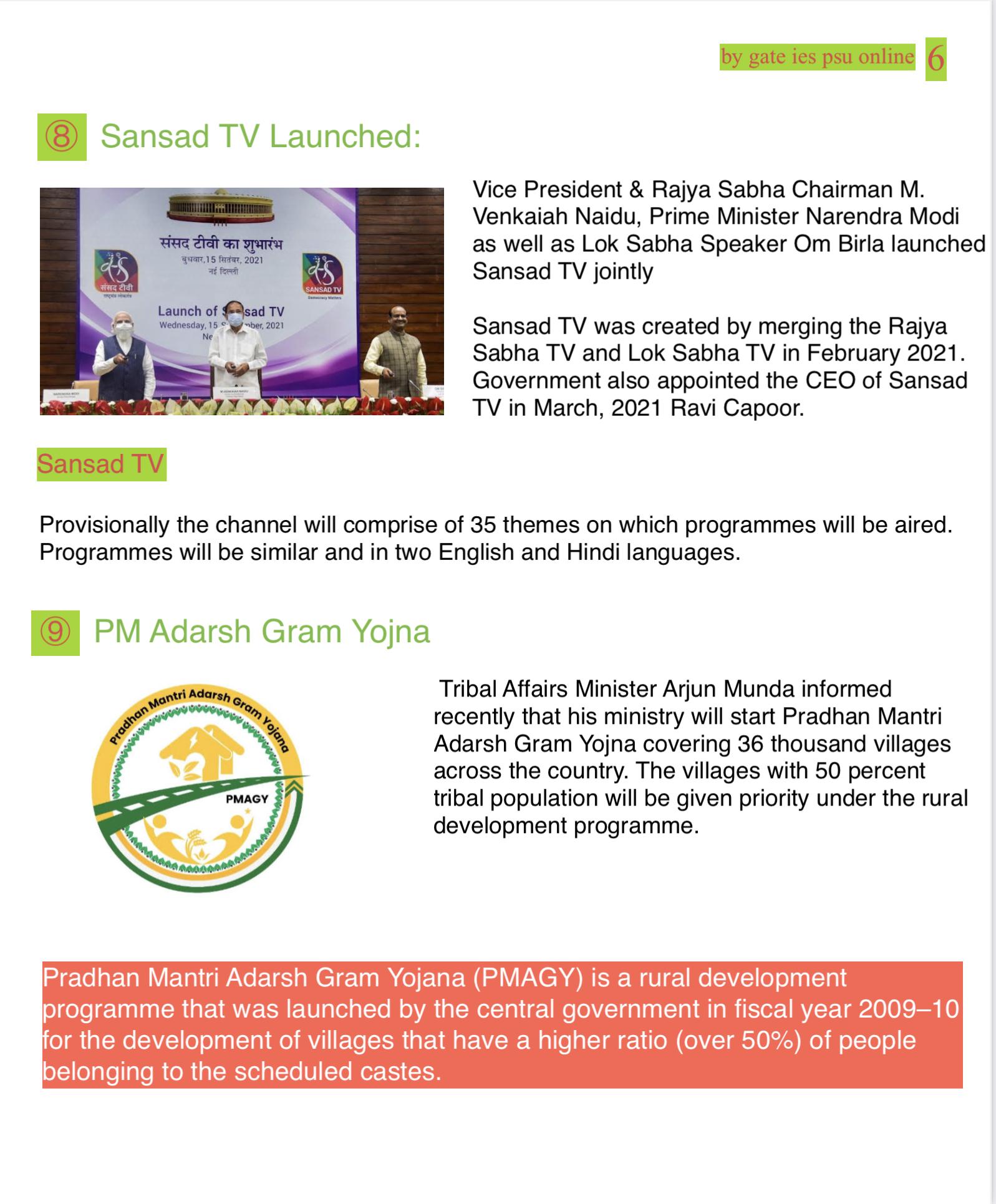 SANSAD TV, PM ADARSH GRAM YOJNA UPSC CURRENT AFFAIRS