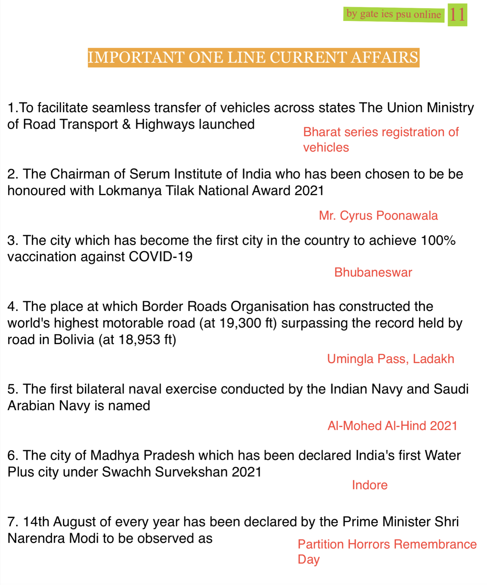 one liner current affairs august 2021