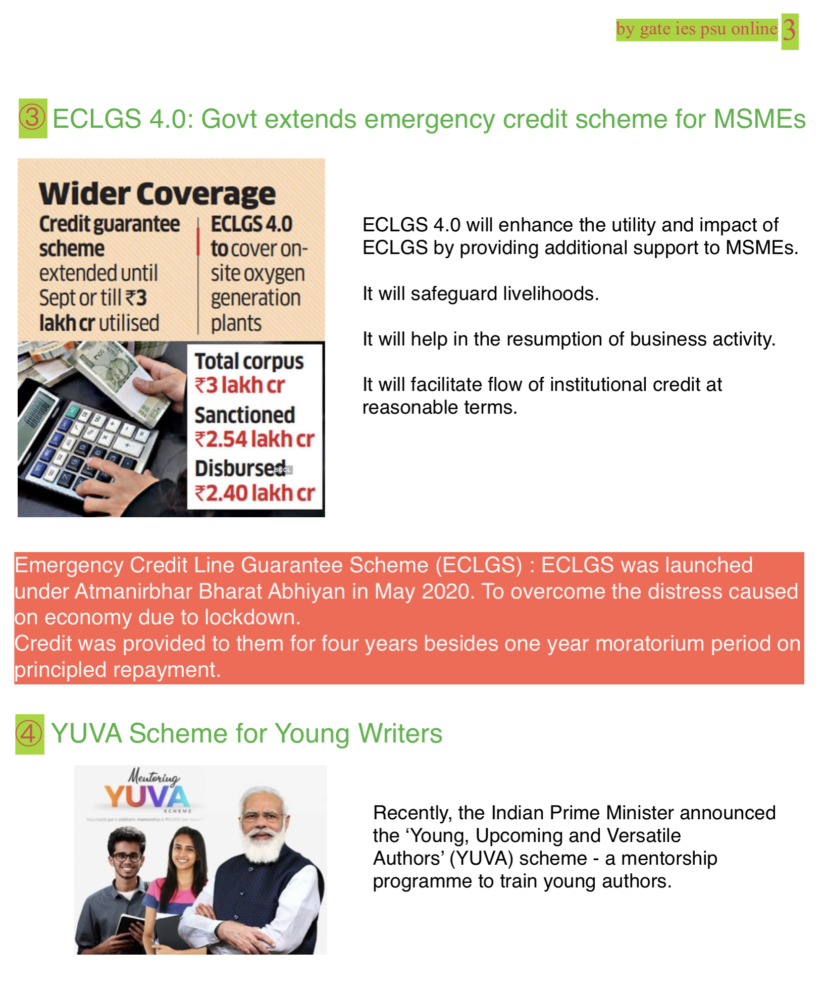 ECLGS 4, YUVA SCHEME, MAY 2021 CURRENT AFFAIRS FOR IES IRMS 2022