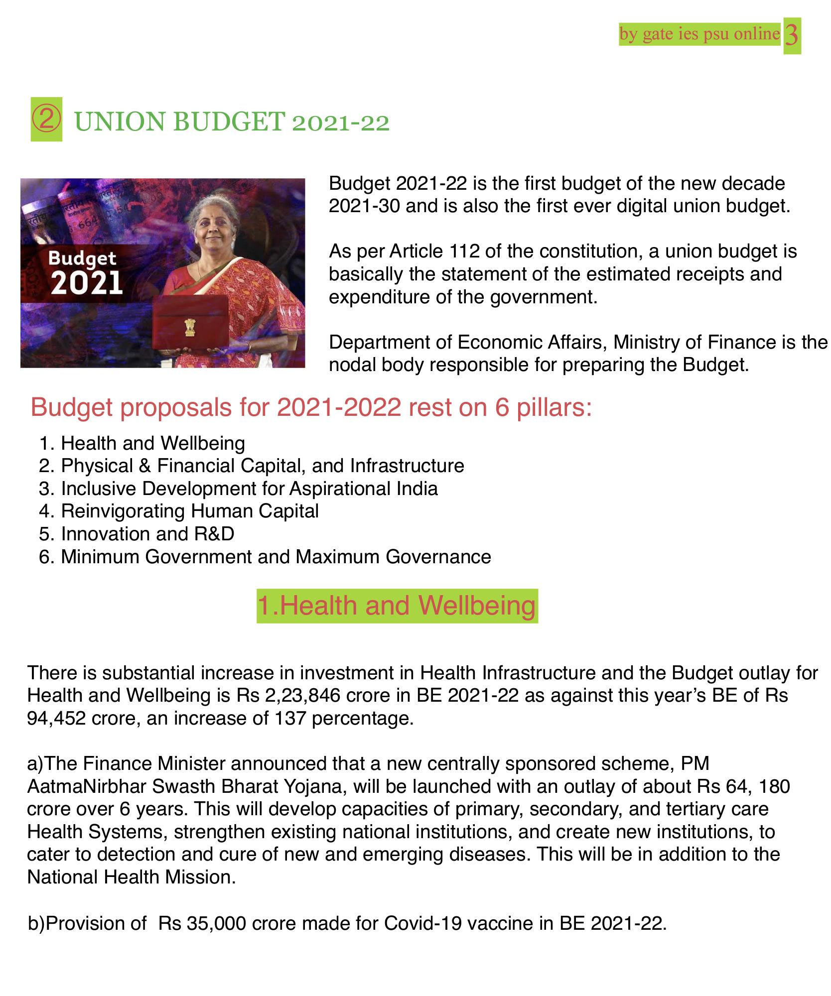 summary of union budget 2020-21 UPSC current affairs