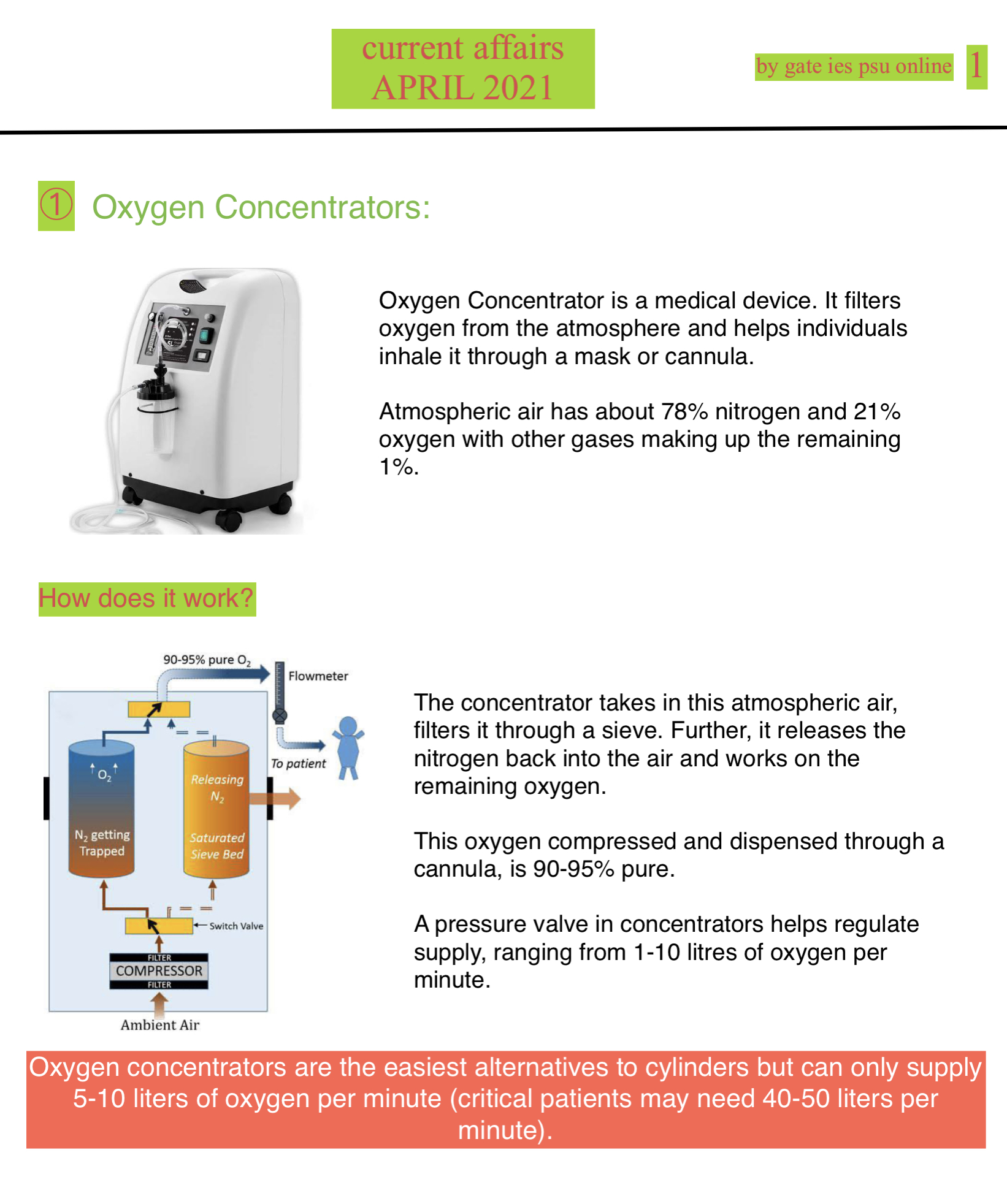 what is oxygen concentrator upsc current affairs