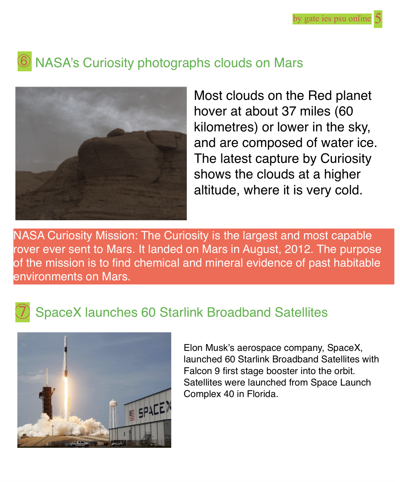 NASA CLOUD MARS PHOTO, SPACEX STARLINK MAY 2021 CURRENT AFFAIRS FOR IES IRMS 2022