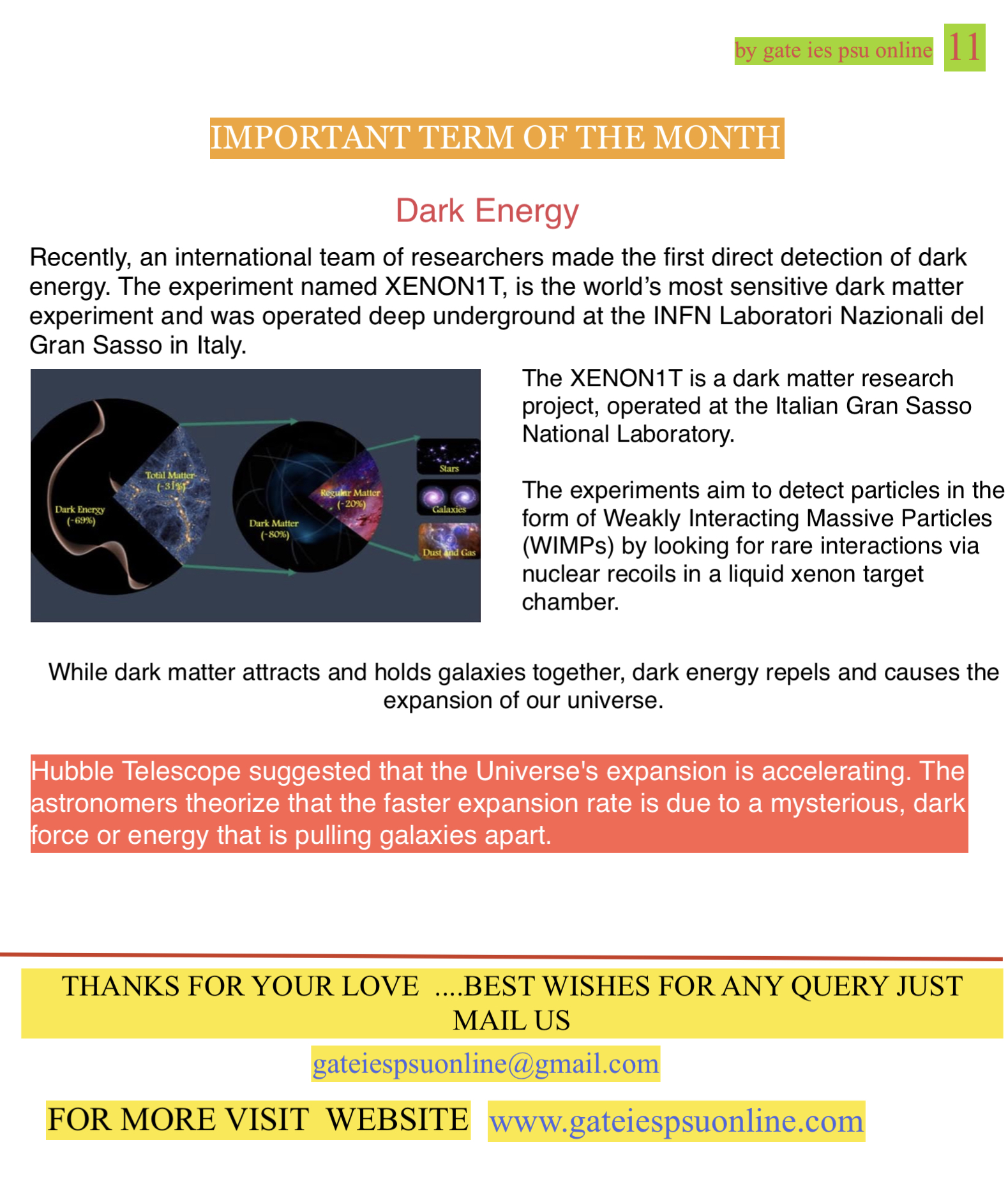 What is dark energy, XENON1T project UPSC current affairs