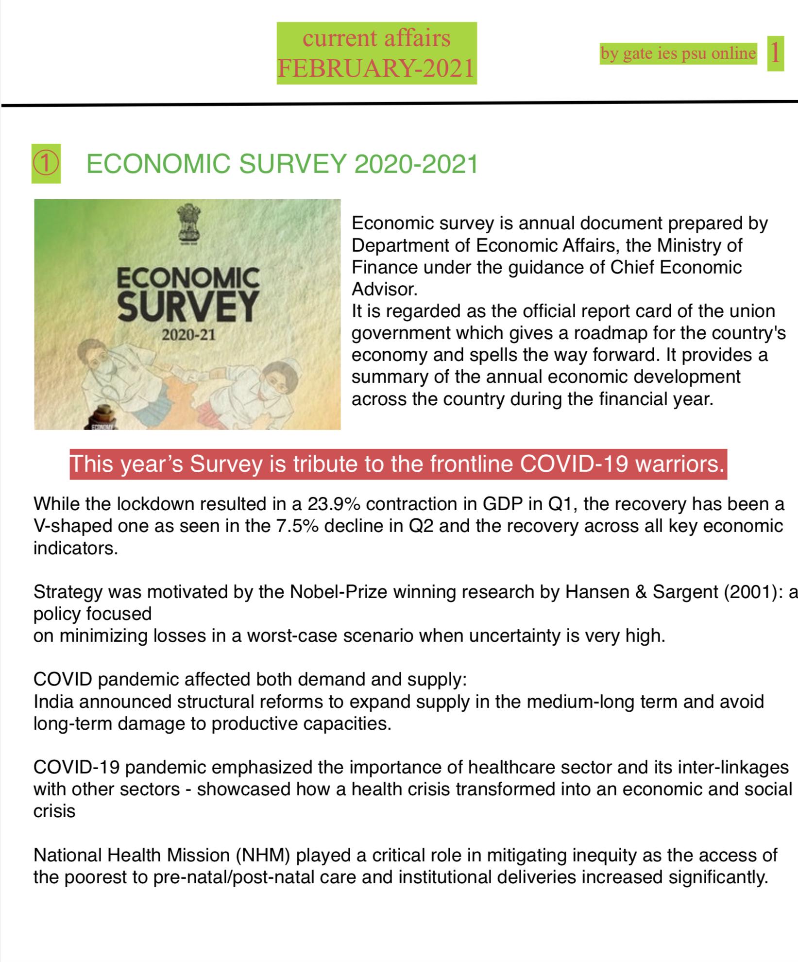 ECONOMIC SURVEY 2020-21 SUMMARY UPSC