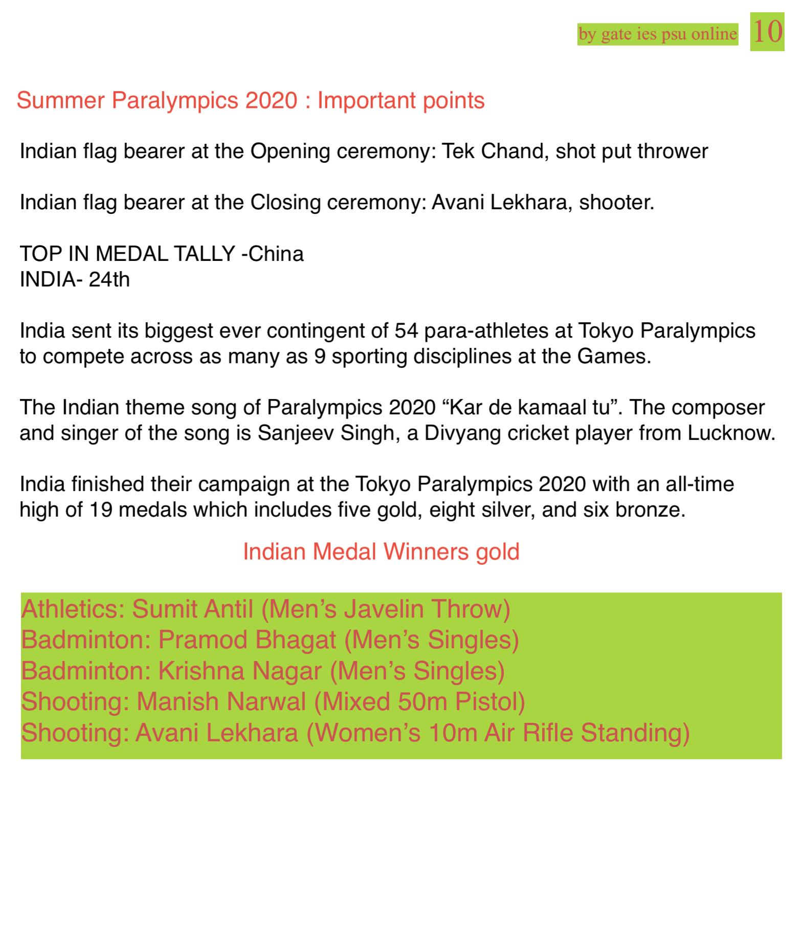 Summer Paralympics 2020 UPSC Current Affairs