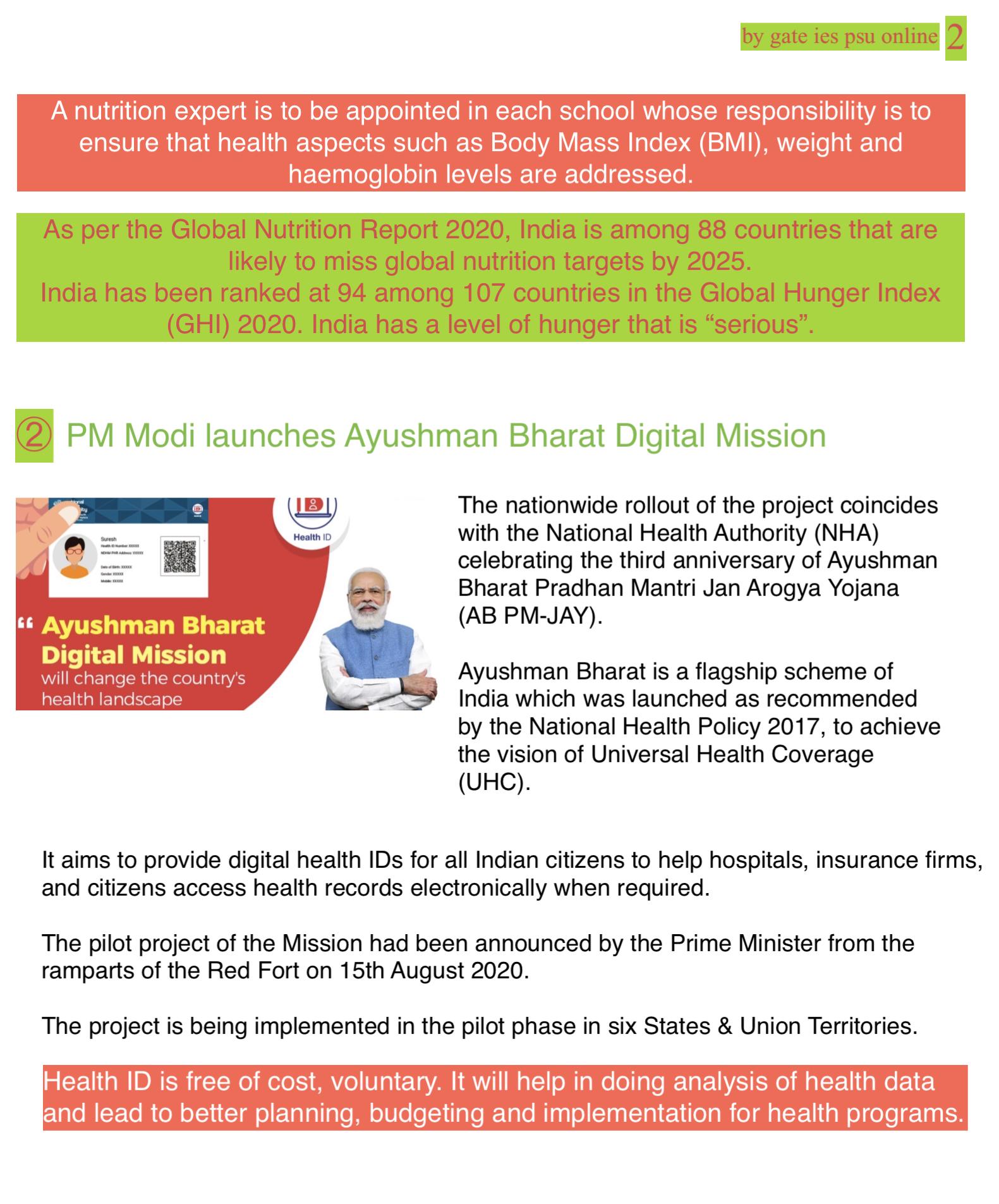 Ayushman Bharat digital mission current affairs upsc ies irms September 2021