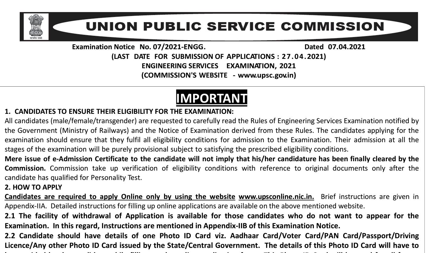 UPSC IES/ESE 2021 NOTIFICATION OUT JUST CHECK ALL DETAILS HERE