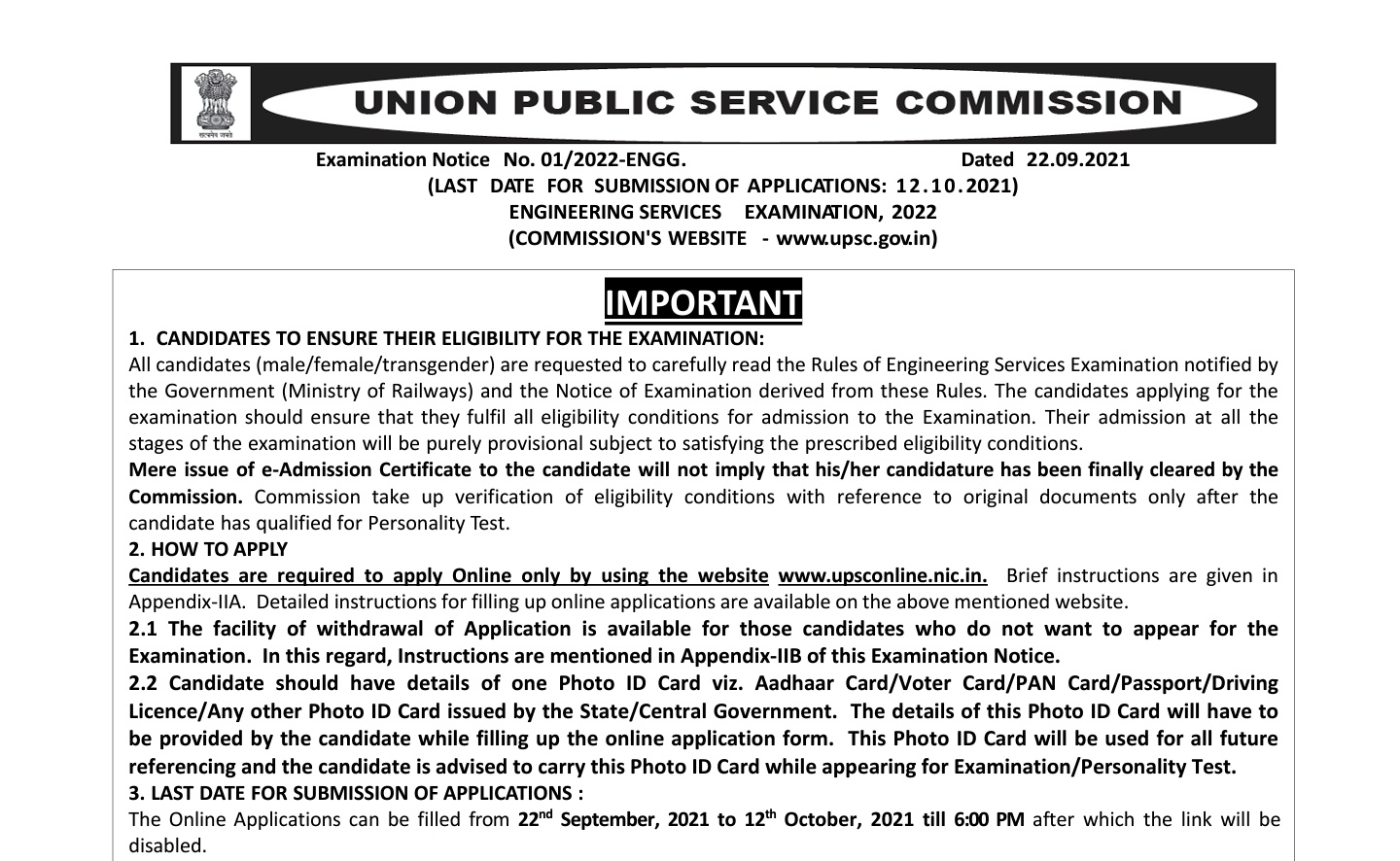UPSC IES ESE 2022 NOTIFICATION OFFICIAL PDF